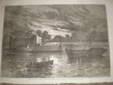 Night Guard at Upnor Castle near Chatham 1868 old print ref Z1