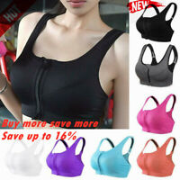Women's  Girl High Impact Front Zip Wireless Padded Cup Tank Top Gym Sports Bra