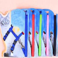Pet Small Dog Puppy Cat Kitten Rabbit Nylon Harness Collar Leash Lead Adjustable
