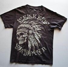 SKULL INDIAN HEADDRESS WARRIOR T shirt (Graphic Tee) Brown Small Cotton
