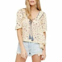 6711 New Free People Never A Dull Moment Printed Tie Front Peasant Blouse Top M