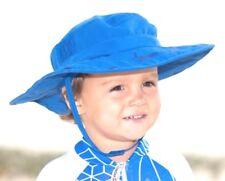 SUN PROTECTION ZONE Wide Brim Bush BOONEY HAT Adjustable Strap BLUE 3-10 Years