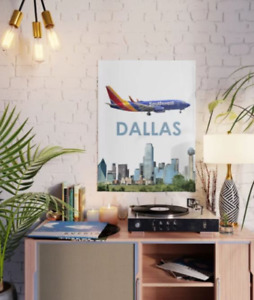 """Southwest Boeing 737 over Dallas Art - 18"""" x 24"""" Poster"""