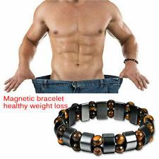 2019 Men Black Hematite Magnetic Healing Therapy Bead Bracelet Bangle Fashion