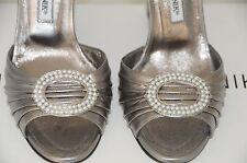 Nuevo Manolo Blahnik Sedaraby Bij 105 Perlas Plata Metálico Enjoyado Boda Shoes
