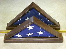 5 X 9 VET WALNUT DOUBLE VIEW FLAG DISPLAY CASE USA MILITARY SHADOW BOX