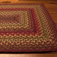 Homespice Decor Jute Braided Area Rug Cider Barn Red Green Tan