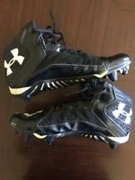 Under Armour Clutch Fit Mid Football Cleats - Black (Men's 10) Black White