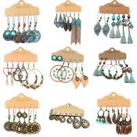 3 Pairs Gypsy Retro Geometric Tassel Drop Dangle Earrings Women Jewelry Fashion
