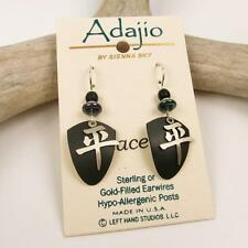 Adajio Earrings Brushed Nickel Chinese 'Peace' Character on Black Shield