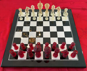 Complete Set of Resin Chess Pieces in various colors, 4 in king (no chess board)