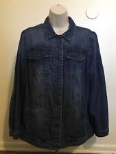 Woman Within Blue Jean Jacket Button Down Women's Size 12W Long Sleeve Cotton