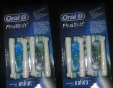 Eight (8) BRAUN ORAL B Replacement Flexisoft Toothbrush Heads EB17 - BNIB New