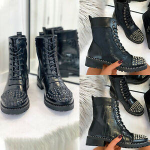 New Womens Lace Zip Biker Ankle Boots Mid Heel High Top Shoes Black Snake Croc