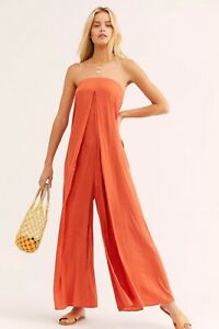 NEW FREE PEOPLE FP BEACH XS KIMMIE SHINE STRAPLESS WIDE LEG ONE PIECE JUMPSUIT