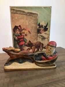 Vaillancourt Folk Art Santa in Sleigh Reindeer 1987 Signed W Decorative Box