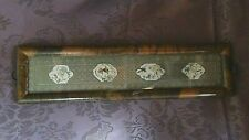 ANTIQUE CHINESE LONG SILK GOLD TREAD EMBROIDERED MEDALLIONS W/FISH,BIRD TRAY