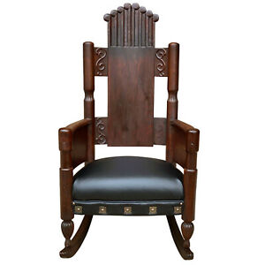 Antique Victorian Quartersawn Oak Carved Rocking Chair
