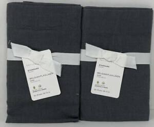 Pottery Barn Belgian Flax Linen STANDARD Shams (Set of 2) ~ Charcoal Gray