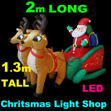 2m Air Power SANTA SLEIGH 2 DEER Outdoor Inflatable Christmas Decoration Lights