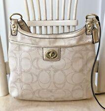 COACH Penelope Ivory Metallic Canvas Gold Signature Crossbody Shoulder Bag 19260