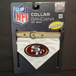 """NFL Official Pet Wear San Francisco 49ers Bandana Dog Collar Med 12""""-18"""" Neck"""