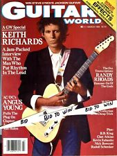 ROLLING STONES KEITH RICHARDS Guitar World Magazine March 1986 Randy Rhoads COOL