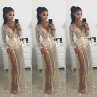 Women Sexy Long Sleeve Evening Formal Party Ball Gown Prom  Beach Party Dress