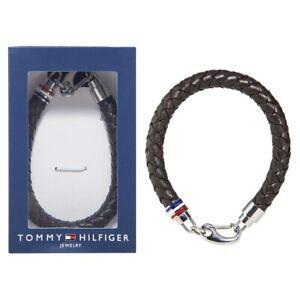Tommy Hilfiger Men's Brown Bracelet Braided Leather 2700530 - NEW