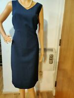 NEW HOBBS FITTED STRIPPED DRESS SIZE UK 16 US 12 BLUE CREAM 78% POLYESTER 19% VI