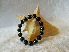 Shungite Bracelet (d-10mm) on elastic with Silver Rondelle Metal Beads