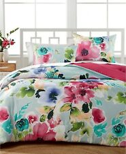 Amanda Flowered &Solid WaterColor Reversible 3-Pc. Comforter Set Full/Queen Size