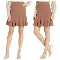New FREE PEOPLE XL Skirt Solid Gold Ribbed Brown Fall Flare Ruffle Hem Knit NWT