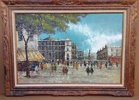 "36"" Beautiful Vtg Signed Impressionist Paris Street Scene Oil Painting Framed"