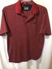 Under Armour Men's Burgundy Red Striped Polo Sport Shirt Size Sz Medium Med M
