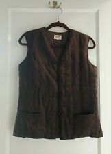 Vintage PLUM BLOSSOMS Chinese Style Knot Button Quilted Vest Women's SZ M Brown