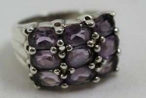 """Sterling Silver & Lavender Faceted Stone Cocktail Ring Size 7 - Marked """"WF"""""""