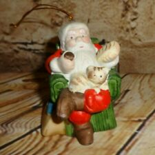 Christmas Tree Ornament Santa Claus Sitting Chair Cat on Lap Porcelain Ceramic