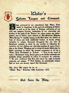 Ulster Covenant Metal Plaque, UVF Ulster Loyalist, Orange Order, ULS001