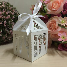 50pcs White Hollow Love Bridegroom and bride Candy Boxes W/Ribbon Wedding Favors