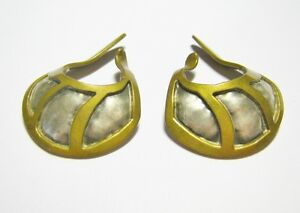 FABULOUS HAND BENCHED BY RAM STERLING & BRASS GEOMETRIC DESIGN EAR CUFF EARRINGS