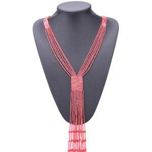 Womens Beads Long Necklace Bib Choker Chunky Statement Pendant Chain Jewelry