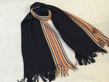 Missoni wool blend knitted scarf navy multicoloured zig zag panel