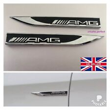 2x AMG Mercedes Emblem Badge Side Sticker Wing Fender Metal A B C E S Class CLA
