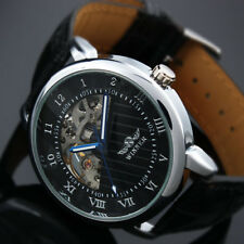 Black Leather Watch Men's Mechanical Skeleton Dial Roman Hand-winding Wrist Band