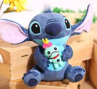 Cute Lilo&Stitch Holding Scrump Plush Doll Bear Soft Toy Kid Girl Xmas Gift