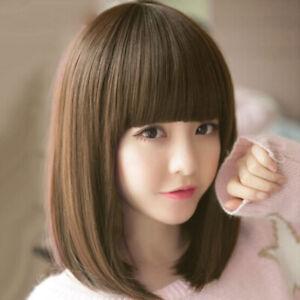 Short Lace Front Human Hair Straight Bob Natural Wig Lace Frontal Wig  J2