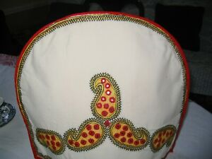 Tea Cozy Embroidered with Small  Mirrors Red White Hand Made, New Free Shipping