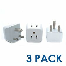 Ceptics USA to India, Africa Travel Adapter Plug - Type D (3 Pack) - Dual Inputs