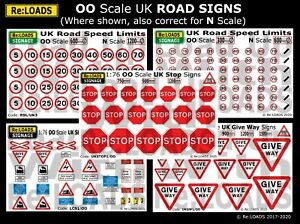 UK Road Signs, SPEED LIMIT, STOP, GIVE WAY, LEVEL CROSSING for OO Model Railways